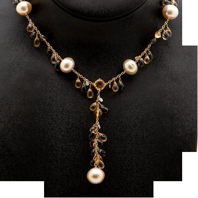 Collar de piedras semipreciosas, perlas, citrinos y cuarzo fumé