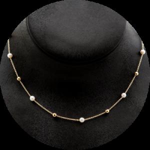 Collar de perlas y bolas de oro amarillo, de Gold & Roses