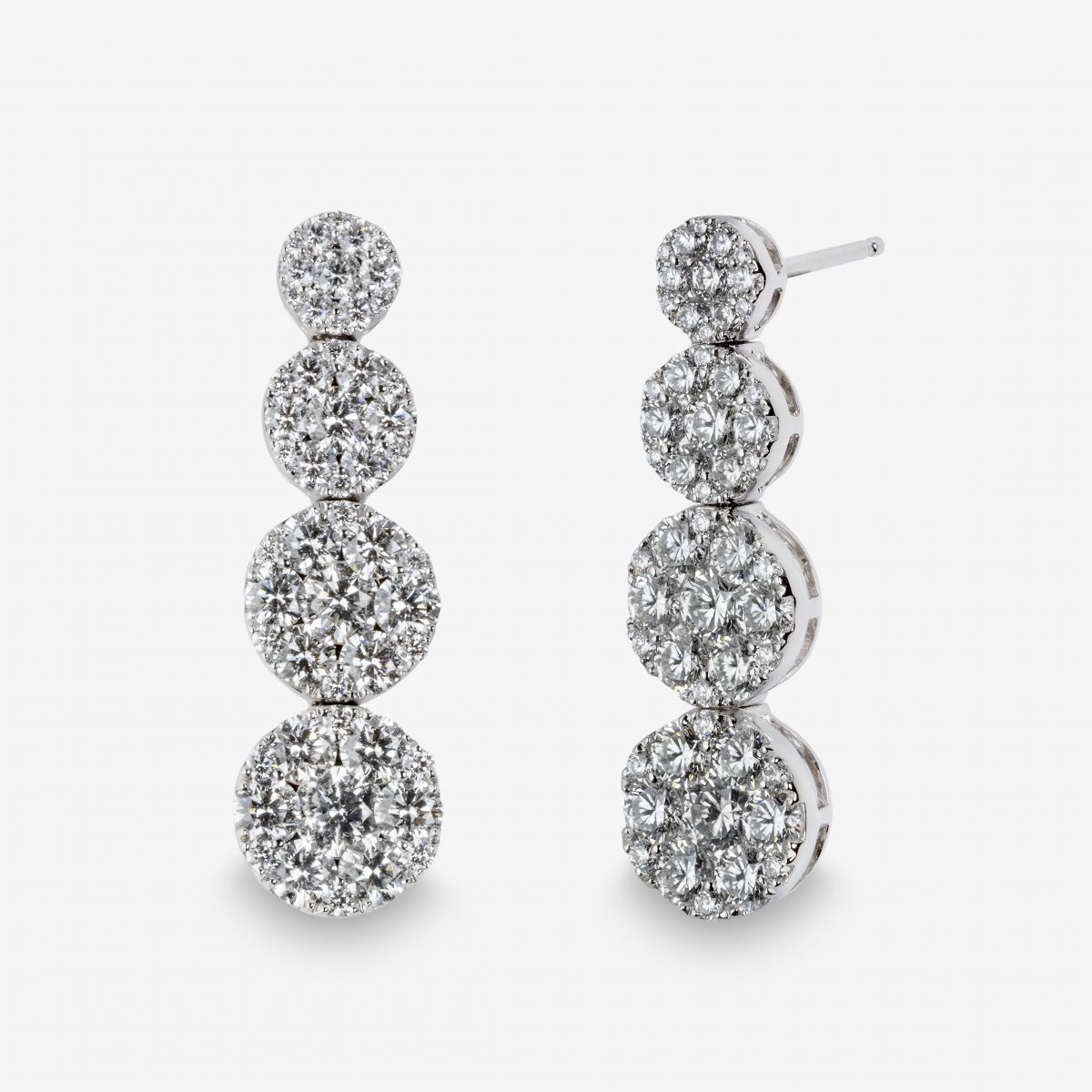 Pendientes oro blanco y brillantes 3,90 quilates.