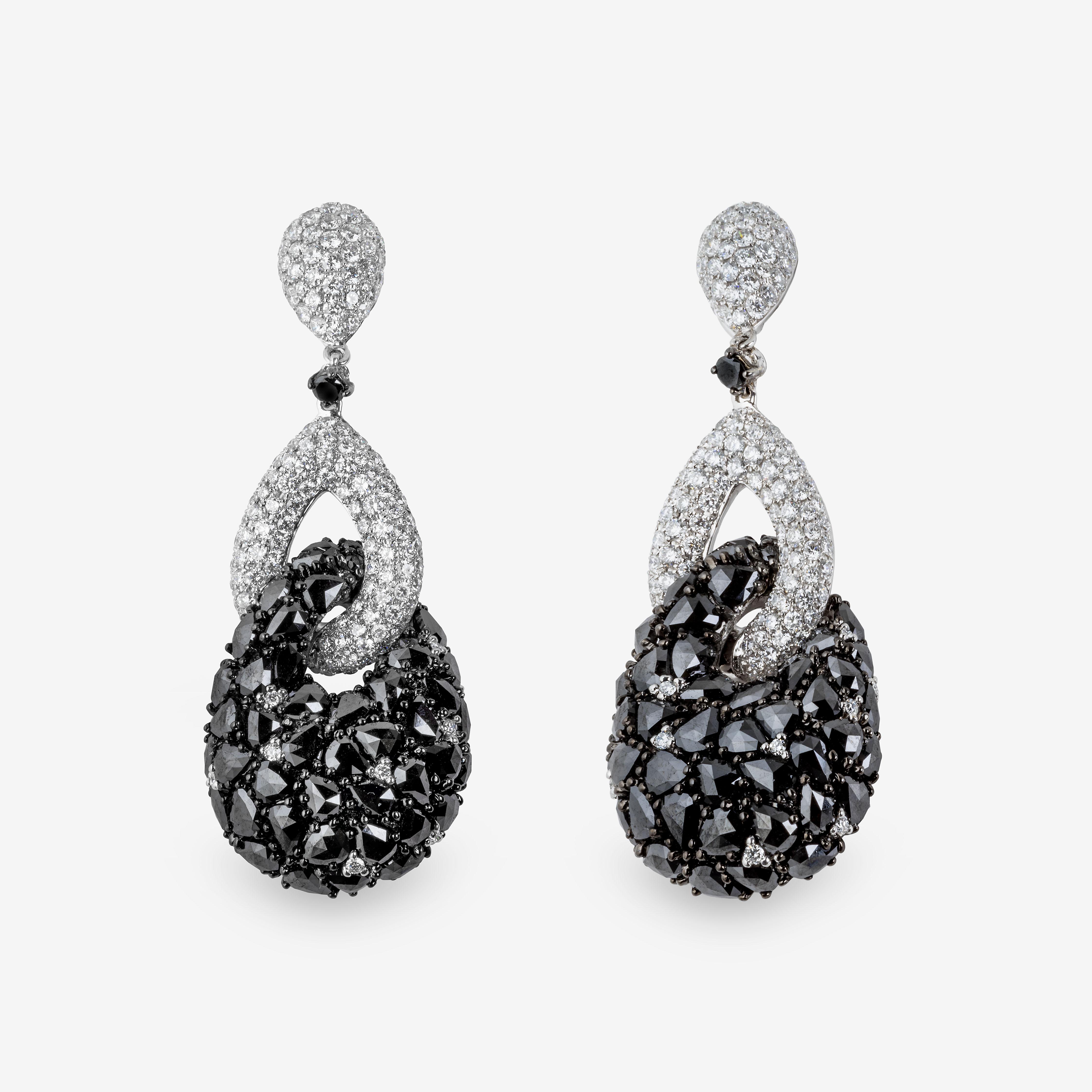 Pendientes oro blanco y diamantes blancos y negros 17,69 quilates